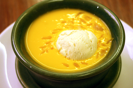 Mango Sorbet in a Mango Soup