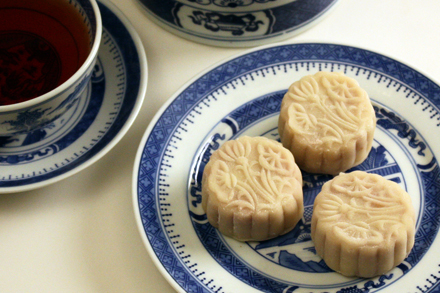Snow-Skin Mooncake with Cherry Almond Filling