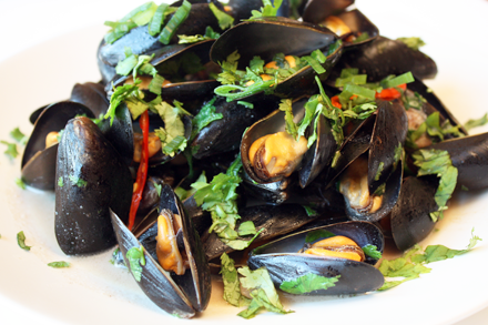 Steamed Mussels with Fermented Tofu and Cilantro